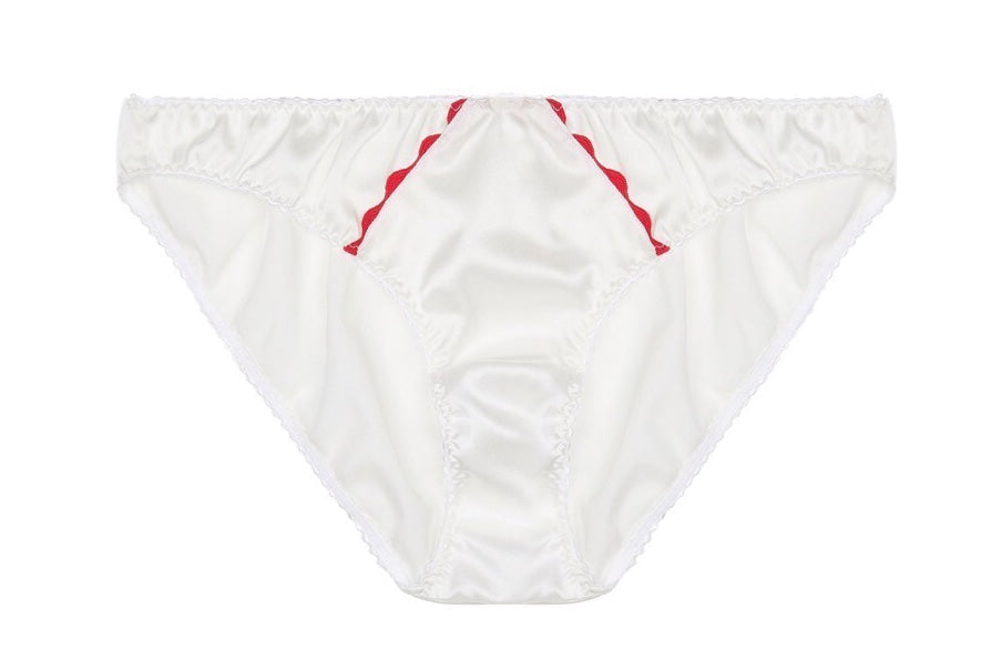 White Stretch-Silk Ric Rac Briefs