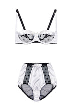 Load image into Gallery viewer, White Stretch-Silk and Black Polka Dot Tulle Balconette Bra with High Waist Briefs Lingerie Set