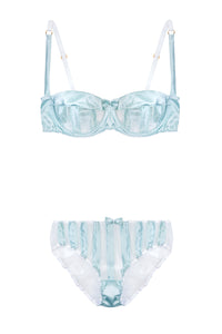 Mint Stripe Stretch-Silk Balconette Bra