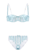 Load image into Gallery viewer, Mint Stripe Stretch-Silk Balconette Bra Lingerie Set