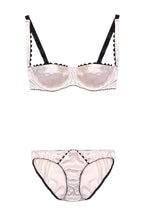 Load image into Gallery viewer, Pink Ric Rac Stretch-Silk Balconette Bra Lingerie Set