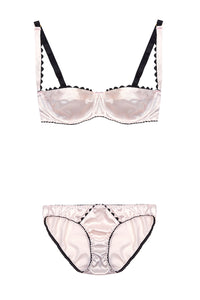 Pink Stretch-Silk Balconette Bra with Black Ric Rac