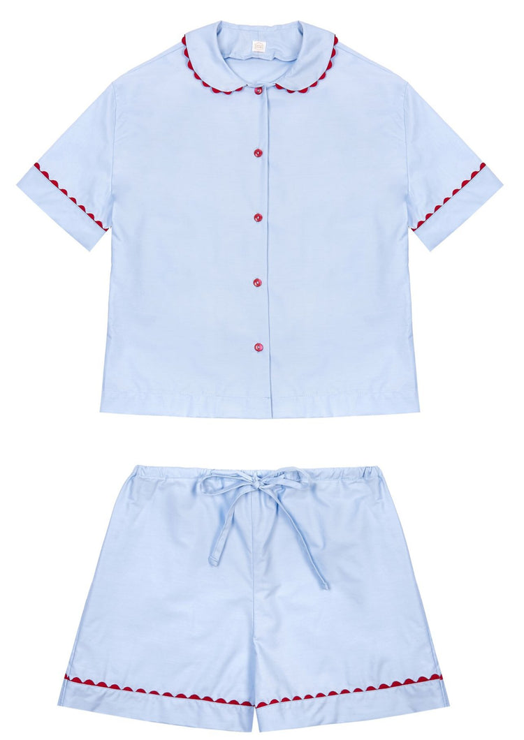 100% Cotton Poplin Blue Pyjamas with Red Ric Rac Trim