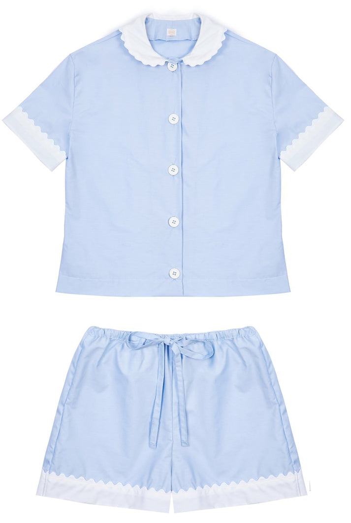 100% Cotton Poplin Pyjamas in Blue with White Contrasting Collar and Cuffs with Ric Rac Trim