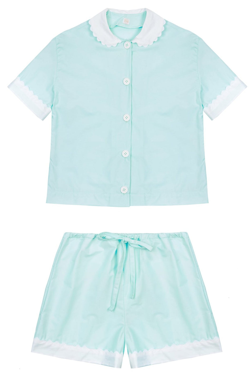 100% Cotton Poplin Pyjamas in Mint with White Contrasting Collar and Cuffs with Ric Rac Trim