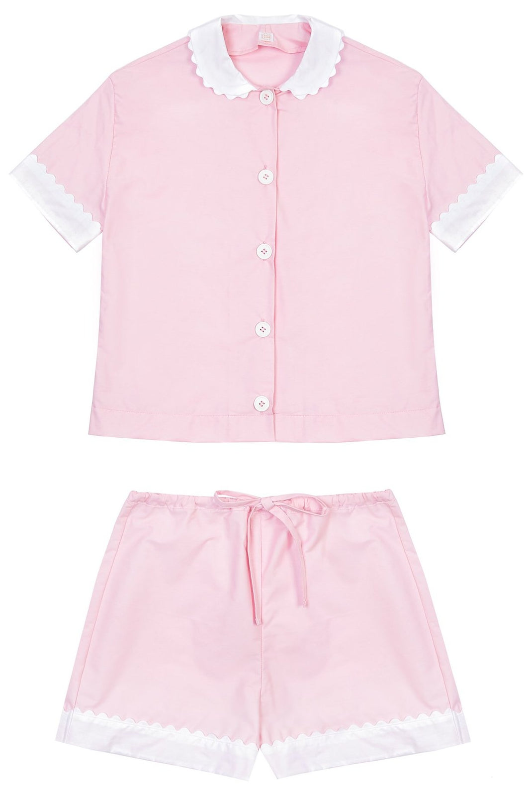 100% Cotton Poplin Pyjamas in Pink with White Contrasting Collar and Cuffs with Ric Rac Trim