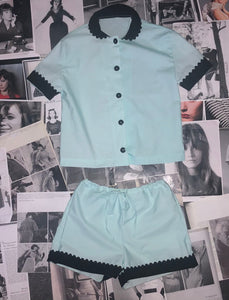 100% Cotton Poplin Pyjamas in Mint with Black Contrasting Collar and Cuffs with Ric Rac Trim