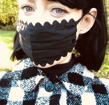 Load image into Gallery viewer, 100% Cotton Black Scalloped Face Mask
