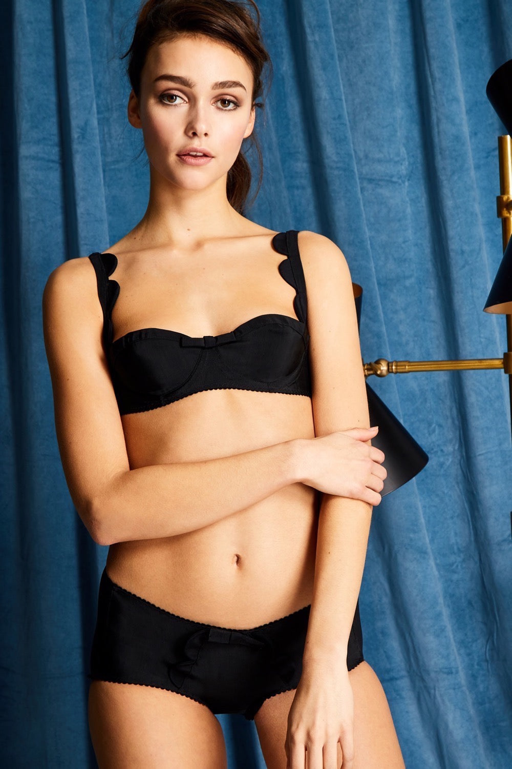 Black Scallop Grosgrain Balconette Bra Lingerie Set