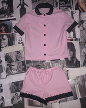 Load image into Gallery viewer, 100% Cotton Poplin Pyjamas in Pink with Black Contrasting Collar and Cuffs with Ric Rac Trim
