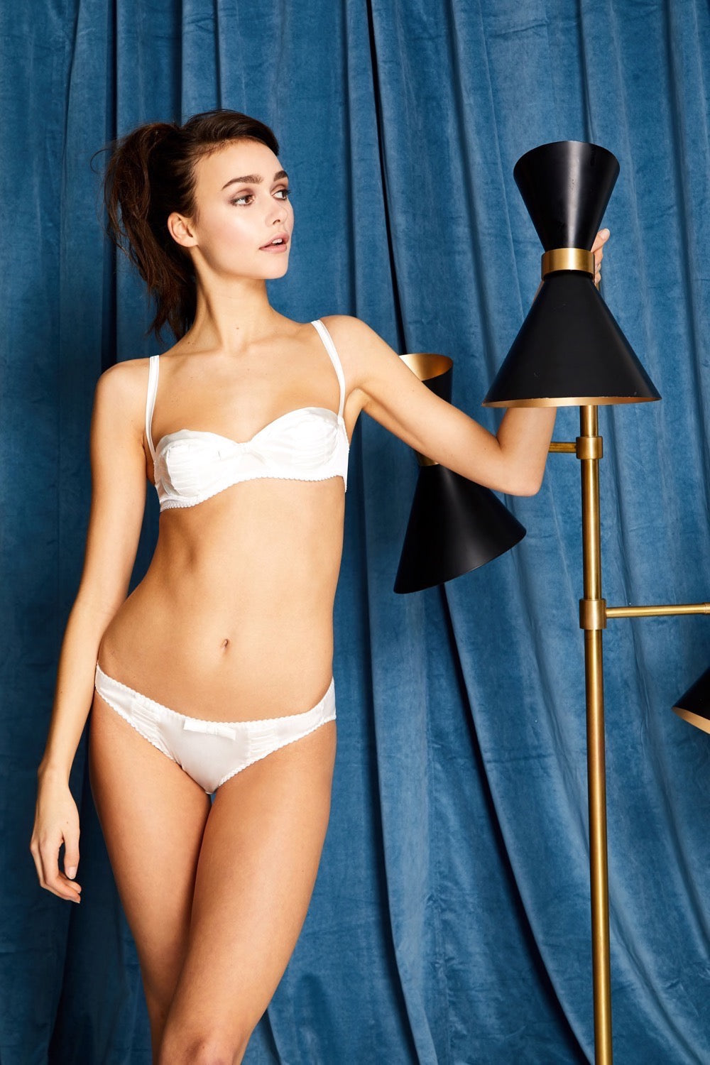 White Pleated Stretch-Silk Balconette Bra Lingerie Set