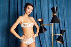 White Stretch Silk with Polka Dot Tulle Balconette Bra