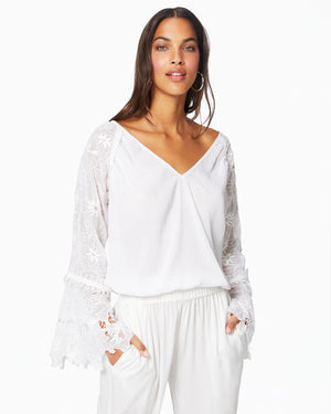 Crysta White Blouse Top Flare Sleeve V-Neck Embroidered