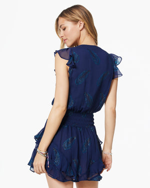 Simone Mini Dress Navy Flutter Sleeve