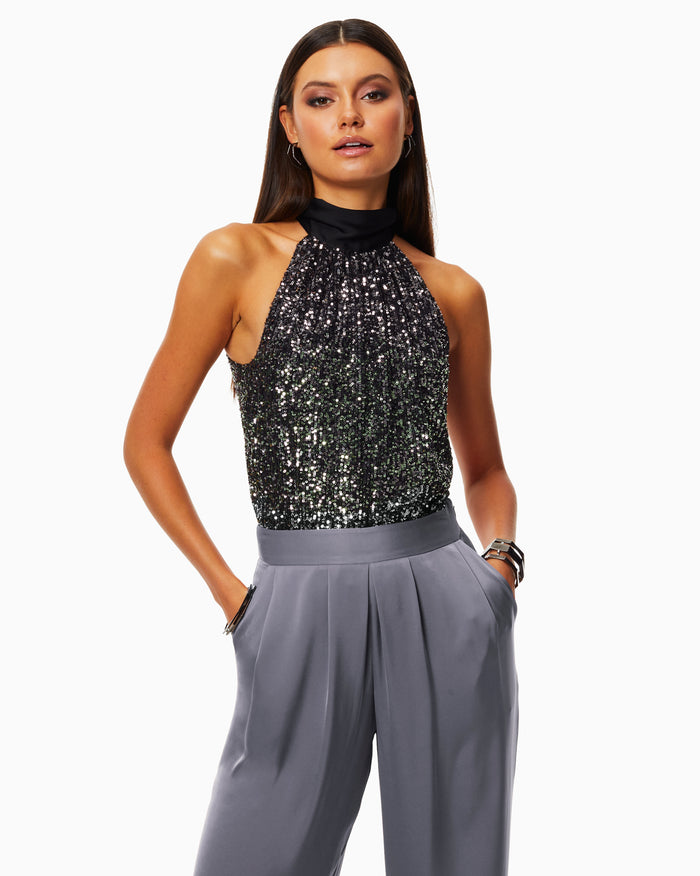 Sequin Lori High Neck Tank Top