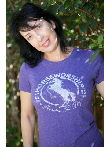 Horseworship Circle Logo Purple Tri Blend Crew T-Shirt
