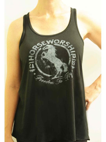 Horseworship Flowy Racer Back Tank - Black