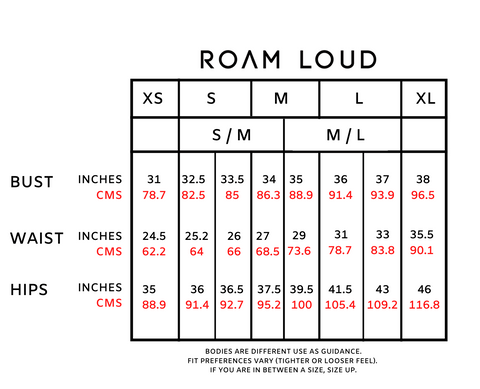 Roam Loud Size Guide 2021