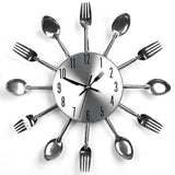 Modern Design Silver Cutlery Kitchen Wall Clock. FREE SHIPPING IN MALAYSIA. Use Code: DISCOUNT8