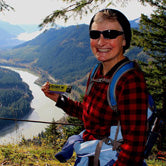 Debbie, one of our fans, hiking Landstrom Ridge in the Coast Mountains