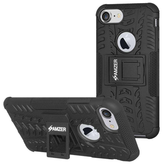 AMZER Hybrid  Warrior Dual Layer Kickstand Case for iPhone 7, iPhone SE 2020 - Black/Black