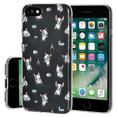 Soft Gel TPU Soft Skin Case Puppy Print for iPhone 7 - Clear - amzer