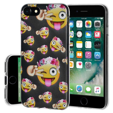 Soft TPU Skin Case Face With Stuck Out Tongue Winking Eye for iPhone 7 - Clear - amzer