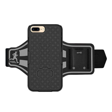 AMZER Jogging Gym Armband Workout Shellster Case For iPhone 7 Plus - Black