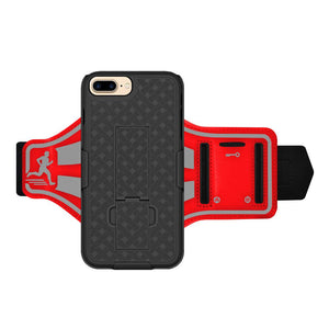 AMZER Jogging Gym Armband Workout Snap On Shellster Case For iPhone 7 Plus - Red