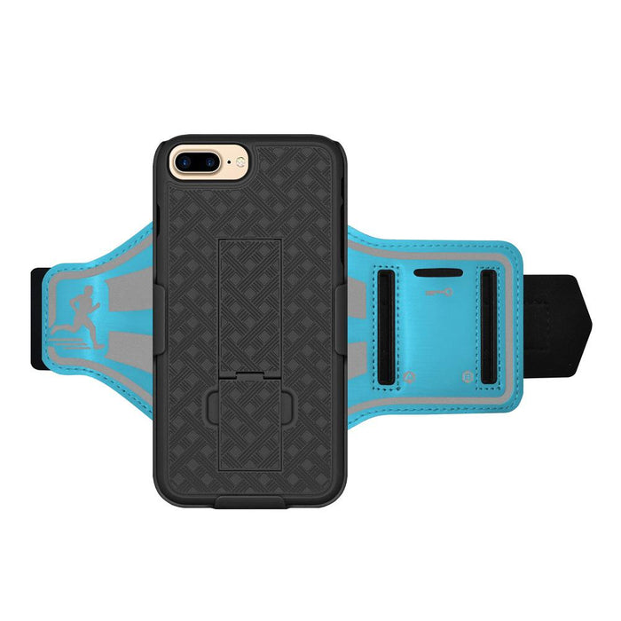 AMZER Jogging Gym Armband Workout Shellster Case For iPhone 7 Plus - Blue