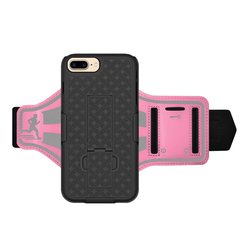 AMZER Jogging Gym Armband Workout Shellster Case For iPhone 7 Plus - Pink - amzer
