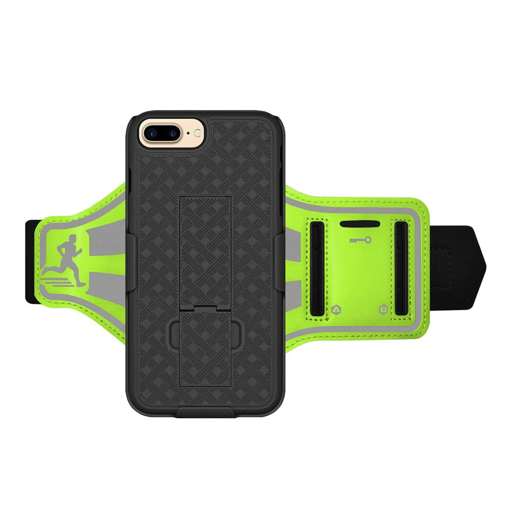 AMZER Jogging Gym Armband Workout Shellster Case For iPhone 7 Plus - Green