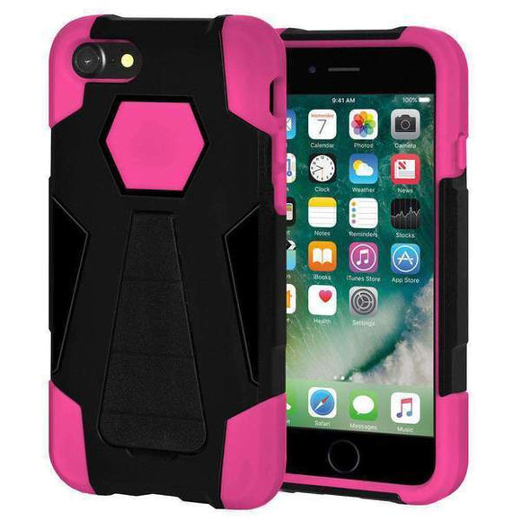 AMZER Dual Layer Hybrid KickStand Case for iPhone 7, iPhone SE 2020 - Black/Hot Pink
