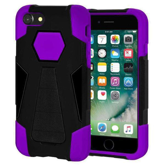 AMZER Dual Layer Hybrid KickStand Case for iPhone 7, iPhone SE 2020 - Black/Purple