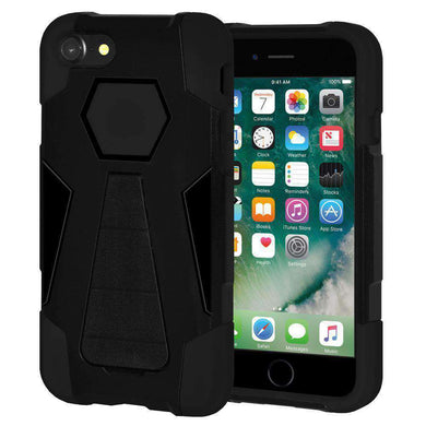 AMZER Dual Layer Hybrid KickStand Case for iPhone 7, iPhone SE 2020 - Black/Black