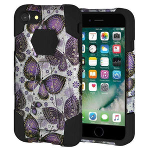 AMZER Dual Layer Designer Hybrid Kickstand Case for iPhone 7 - Violet Butterfly - amzer