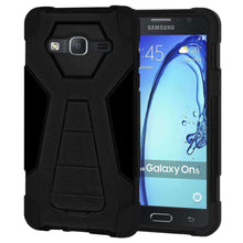 Load image into Gallery viewer, AMZER Dual Layer Hybrid Kickstand Case for Samsung Galaxy On5 - Black/Black - amzer