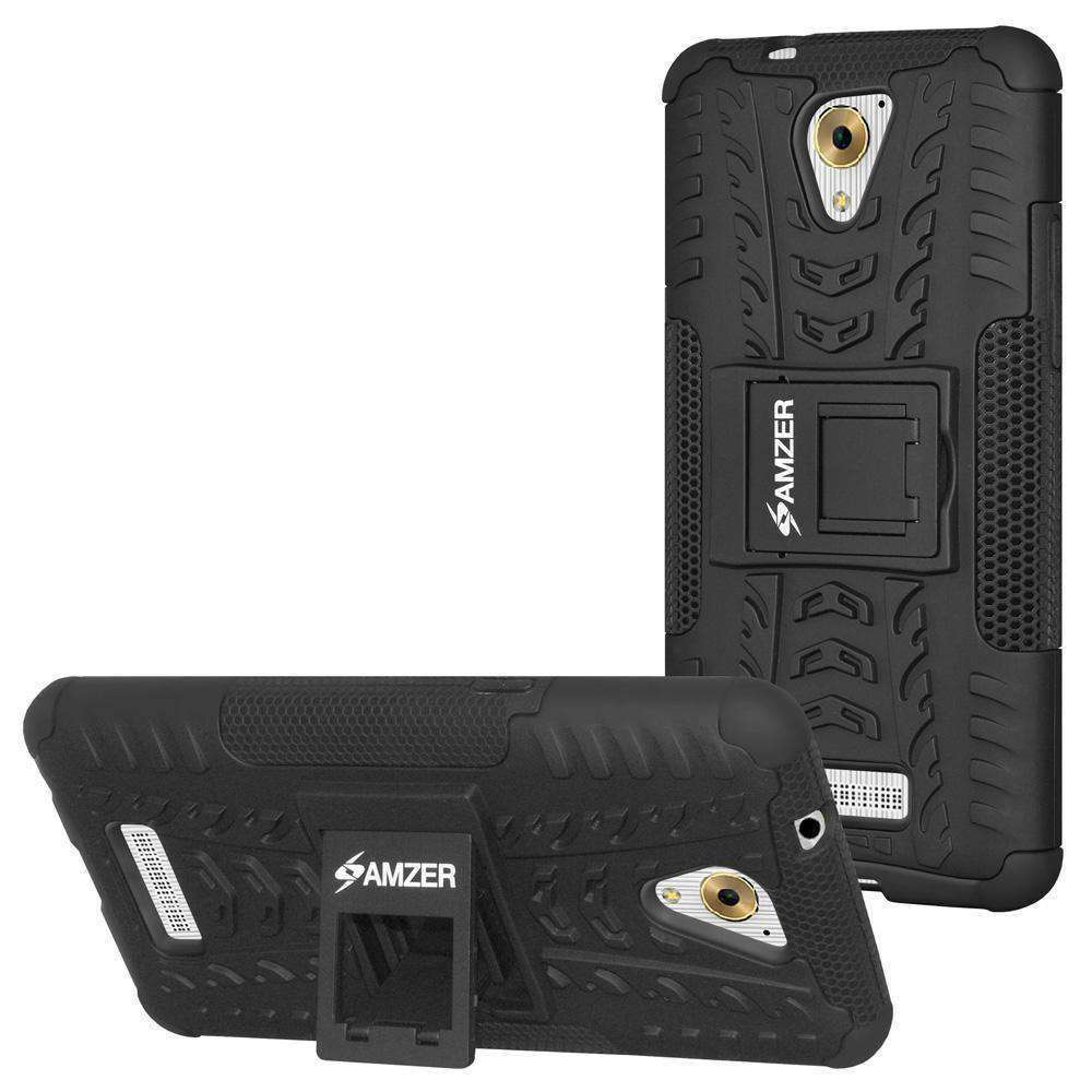 AMZER Hybrid  Cover Warrior Case  for Coolpad Mega 3 - Black/Black