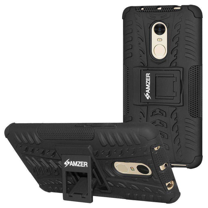 AMZER Hybrid Shockproof Cover Warrior Case for Xiaomi Redmi Note 4 - Black/Black