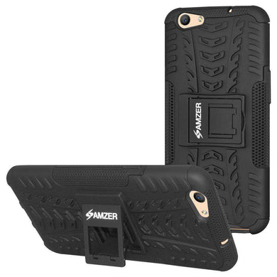 AMZER Hybrid Shockproof Cover Warrior Case for OPPO F1s - Black/Black - amzer