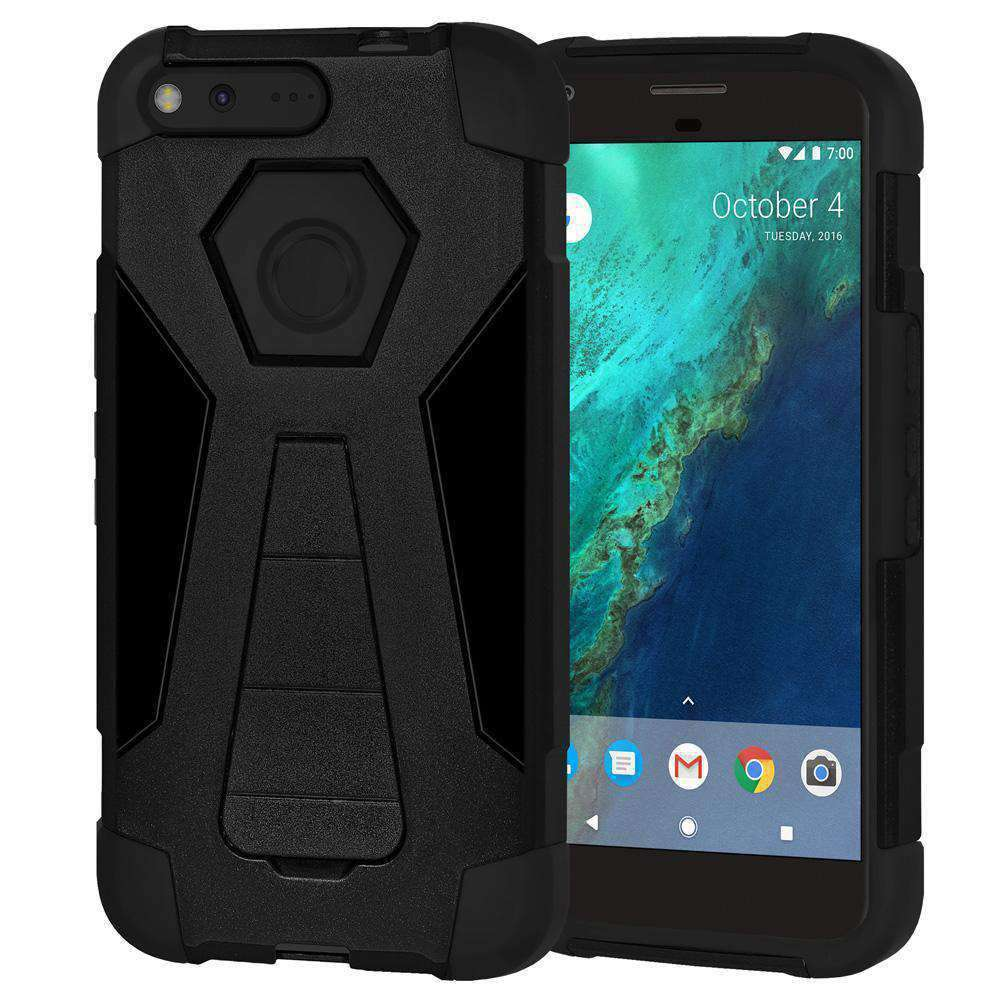 AMZER Dual Layer Hybrid KickStand Case for Google Pixel XL - Black/Black - amzer