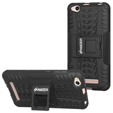 AMZER Shockproof Warrior Hybrid Case for Xiaomi Redmi 4a - Black/Black - amzer