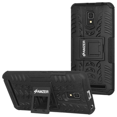 AMZER Shockproof Warrior Hybrid Case for Lenovo A6600 - Black/Black - amzer