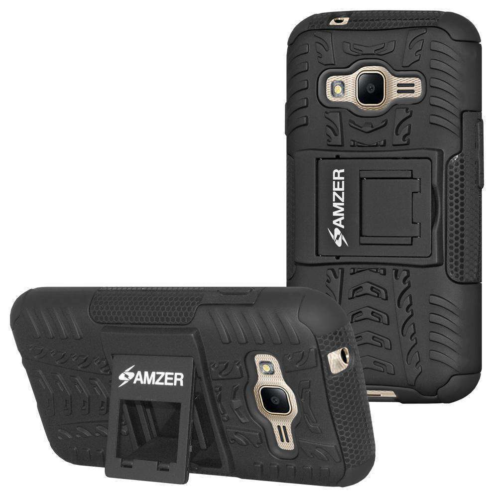 AMZER Hybrid Warrior Kickstand Case for Samsung Galaxy J1 Mini Prime 2016 - Black/Black