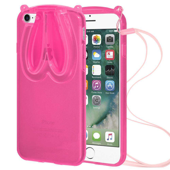 AMZER TPU Case With Rabbit Ears for iPhone 7, iPhone SE 2020 - Pink