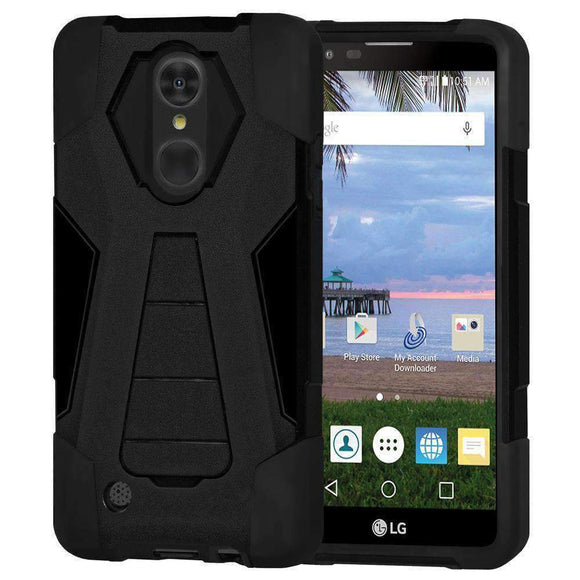 Dual Layer Hybrid KickStand Case for LG Aristo MS210 - Black/ Black