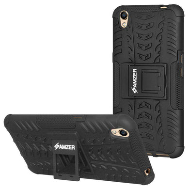 AMZER Shockproof Warrior Hybrid Case for Oppo A37 - Black/Black - amzer