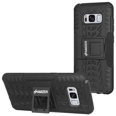 AMZER Hybrid Warrior Case  for Samsung Galaxy S8 - Black/Black - amzer