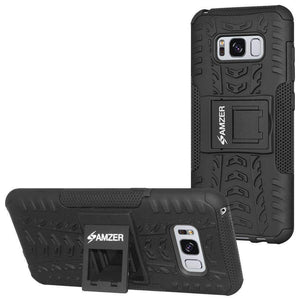 AMZER Hybrid Warrior Kickstand Case for Samsung Galaxy S8 - Black/Black