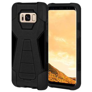 AMZER Dual Layer Hybrid KickStand Case for Samsung Galaxy S8 Plus - Black/Black